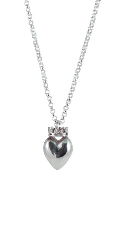 Silver crown heart