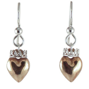 earrings heart crown top bronze front