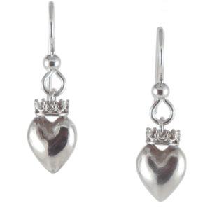 earrings heart crown top silver