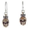 earrings skull crown bronze front
