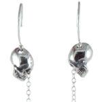 earrings skull half teardrop close