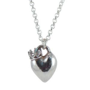 heart crown side silver