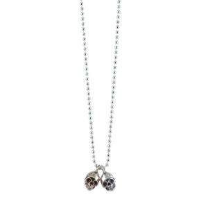 skull silver bronze chain