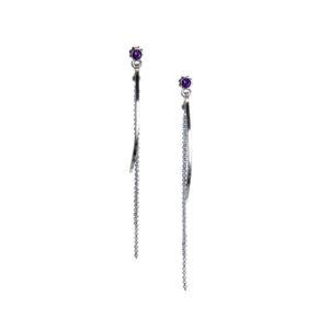 amethyst silver bar tassel earrings
