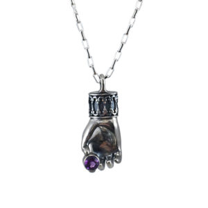 sterling silver hand necklace holding amethyst