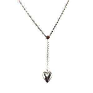 sterling silver heart garnet
