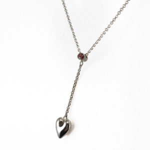garnet drop heart necklace