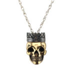 necklace bronze skull sterling silver crown