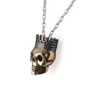 sterling silver necklace bronze skull wearing crown side