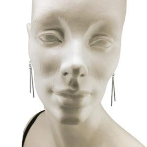 silver swinging rods earrings