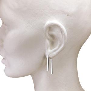 silver double short bar earrings