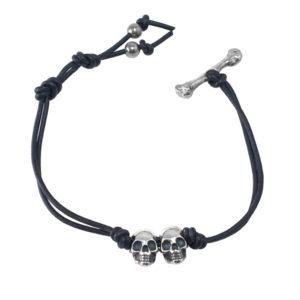 double skull and bone bracele