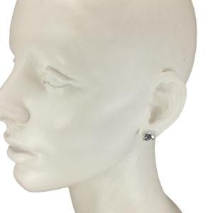 silver half skull stud